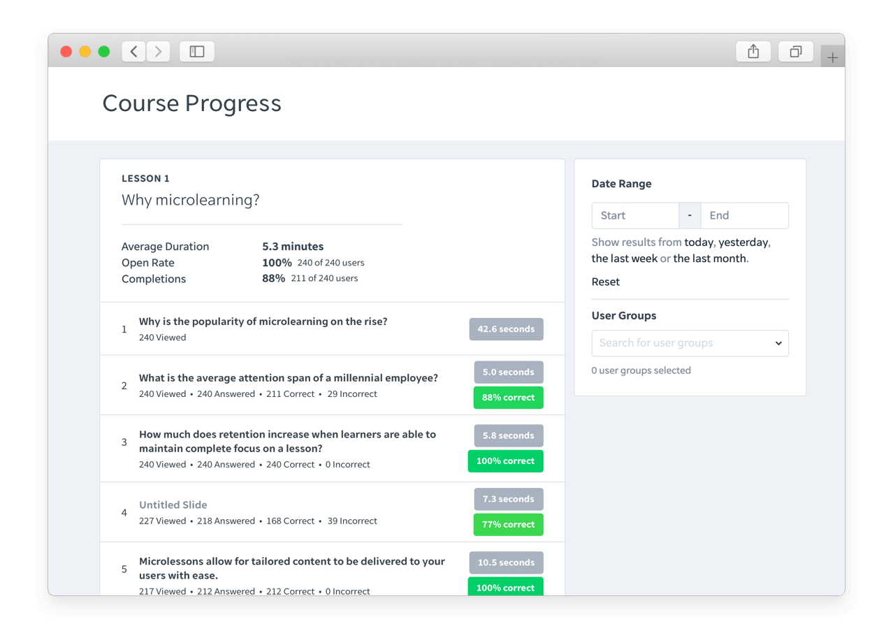 Allow managers to easily track user progress