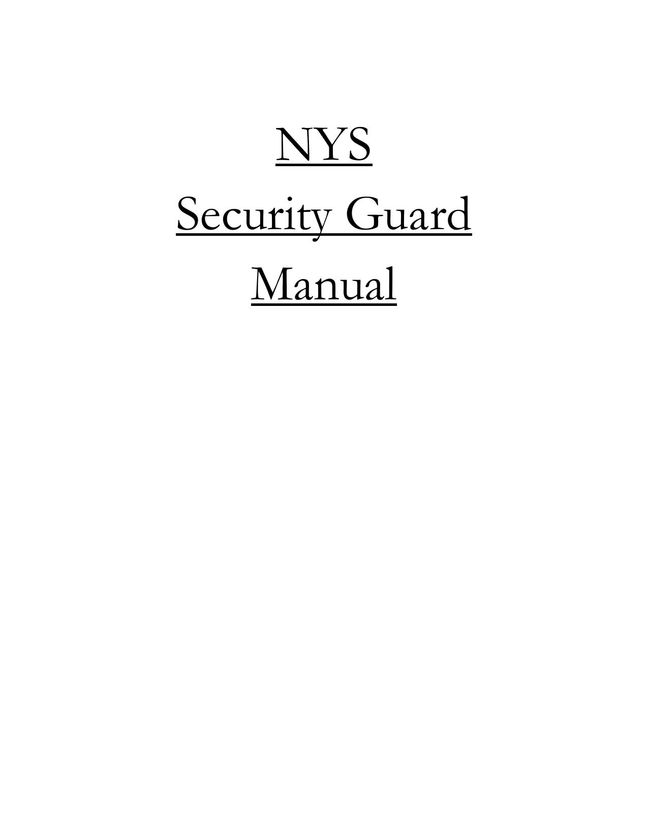 Nys Security Guard Manual