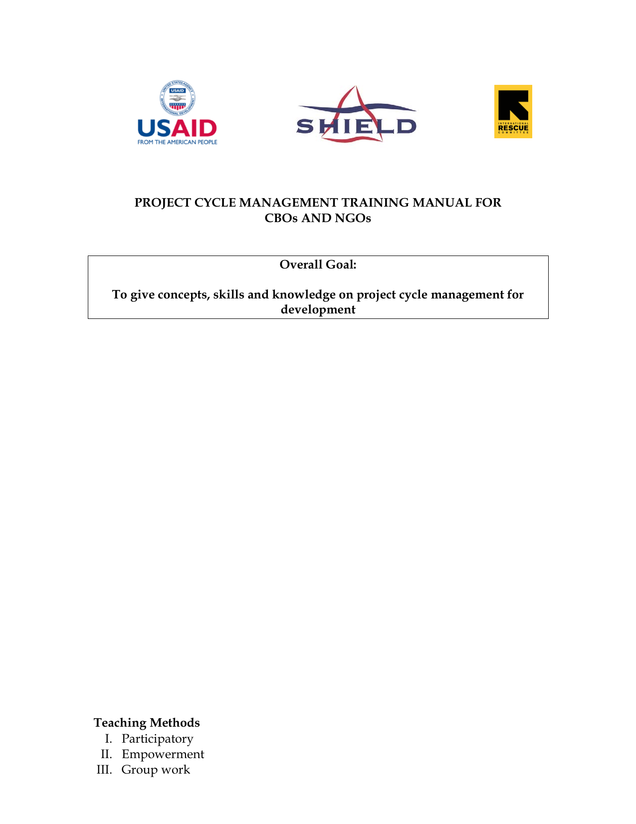 Project Cycle Management Training Manual For