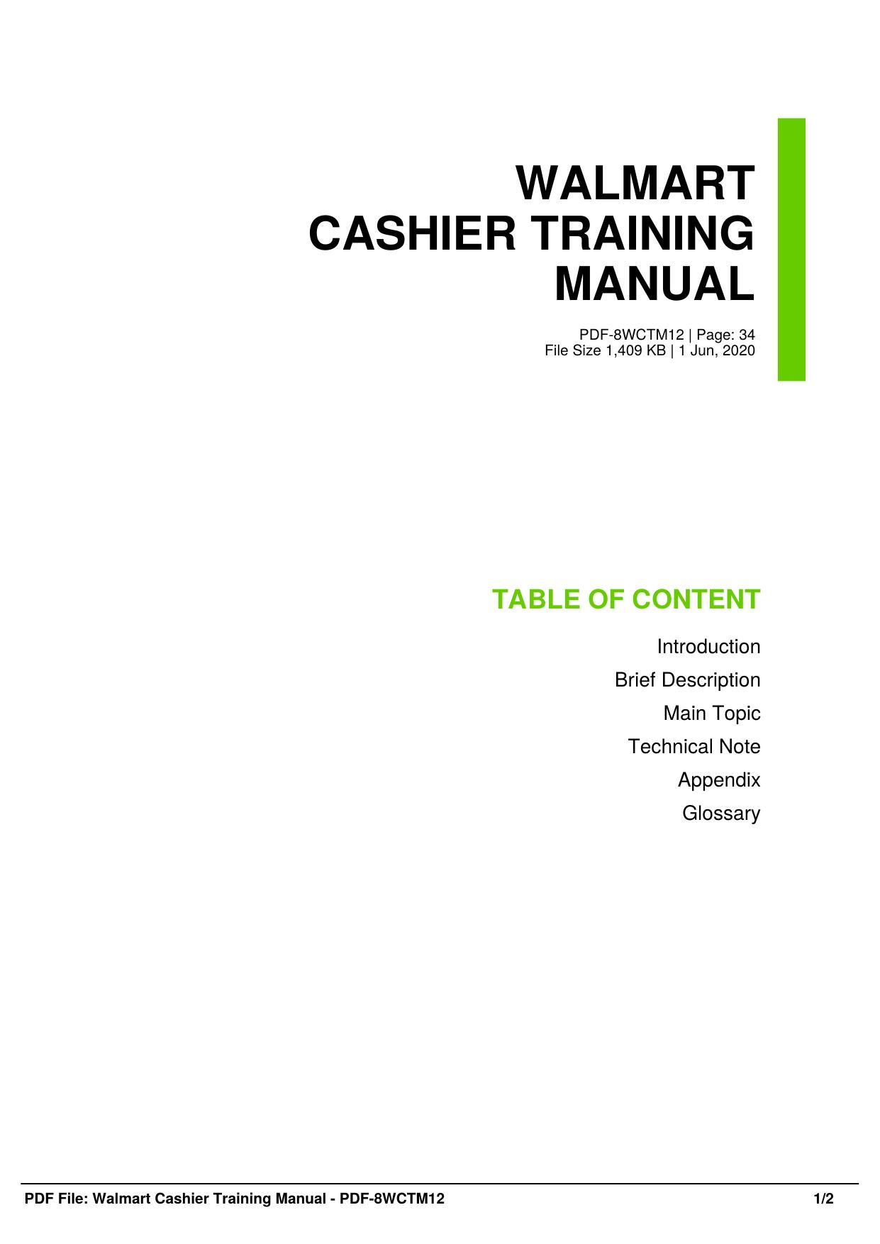 Walmart Cashier Training Manual