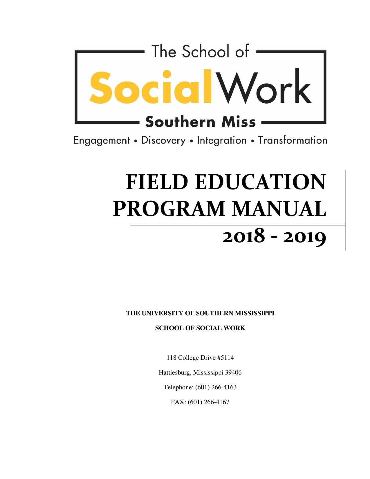 Field Education Program Manual 2018